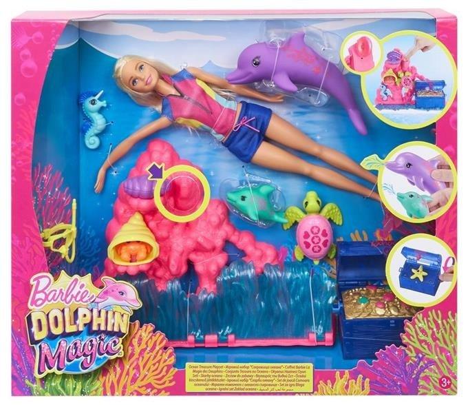 Barbie Delfiny Z Magicznej Wyspy Skarby Oceanu Zestaw Lalka